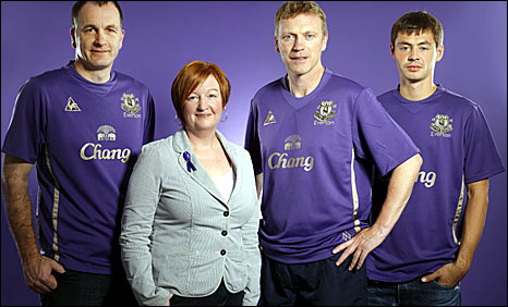 Everton purple charity kit Moyes