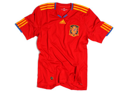 c7e3ea839a0 This is a leaked photo of Spain's new adidas home shirt for 2010. The  Spanish national team will wear it for the first time on Saturday, when  they play ...