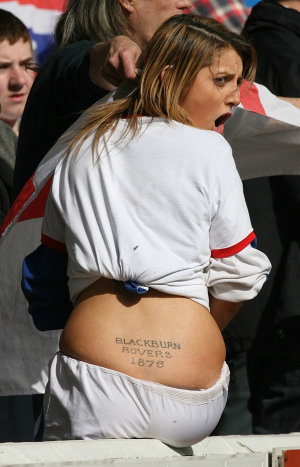 Football Tattoos: Female Fan Rocks Blackburn Rovers Tramp Stamp (With Photos