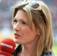 Football GIF: Female TV Reporter Jessica Kastrop Hit On Head By Stray Ball