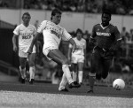 On the ball for Tottenham in 1986