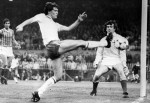 An attempt on goal at Windsor Park for England, 1983