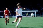 In action for England vs Wales in 1980