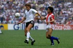 On the ball for England v Paraguay at Mexico '86