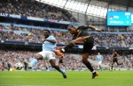 Man City v Chelsea - Didier Drogba has a shot