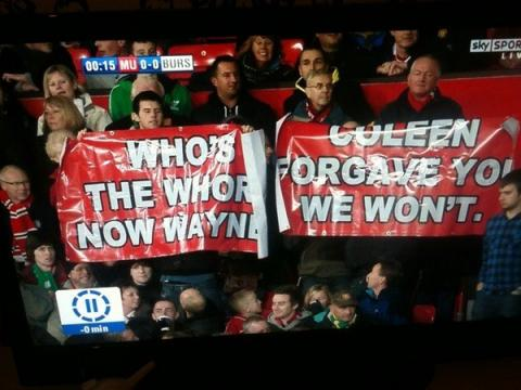 Wayne Rooney Banner Spotted At Old Trafford: 'Who's The Whore Now ...