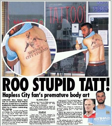 Wayne Rooney Tattoo Liverpool Wayne Rooney Tattoo Fail Dumb Man City Fan Blows On Rooney Ink