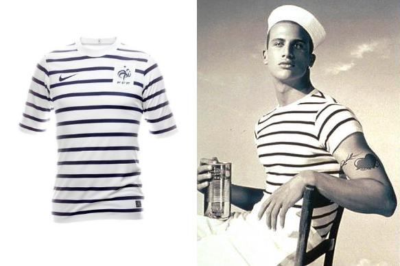 Shit kit lookalikes new france 2011 away shirt jean for Striped french sailor shirt