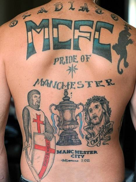 snapshot man city fan gets huge and premature fa cup winners tattoo who ate all the pies. Black Bedroom Furniture Sets. Home Design Ideas