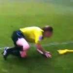 Lineswoman Sian Massey Wiped Out By Cardiff Clogger Kevin McNaughton (Video)