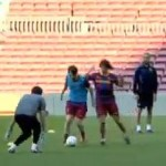Lionel Messi Skins Carles Puyol In Training (Video)
