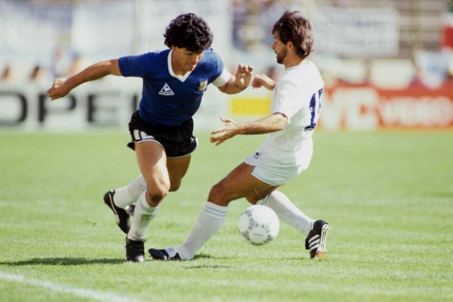 the beauty(Maradona) getting past the beast (Eliseo Rivero)