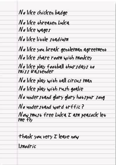 Luka ModricS Official Written Transfer Request Leaked  Who Ate