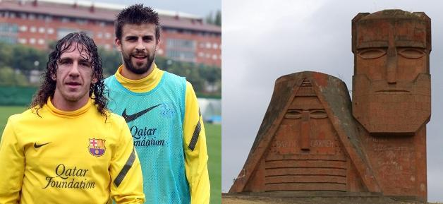 Puyol And Pique dan Armenian 'Mountain' Monument