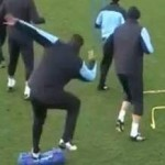 Vincent Kompany Tackled By Small Bag During Man City Training (Video)