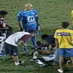 Caxias Striker Vanderlei Bitten By Police Dog While Quibbling Over Controversial Goal (Video)