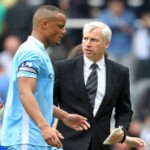 Newcastle Boss Alan Pardew And Man City Captain Vincent Kompany Pick Up Premier League Gongs