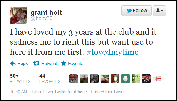 Snapshot Grant Holt Farewell Tweet Makes For Difficult Reading