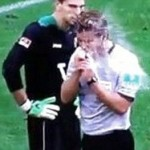 German Referee Dr. Felix Brych Struggles With Water, Duly Drenches Himself (Video)