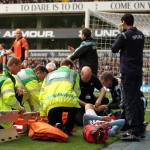 Aston Villa's Joe Bennett Collides With Advertising Board, Suffers Horrible Leg Gash (Grizzly Photo)