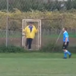 Devious Coach Attempts To Trip Winger On Touchline, Made To Stand Behind Fence As Punishment (Video)