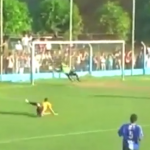 Striker Lofts Ball Over Stranded Keeper, Substitute Keeper Runs Onto Pitch And Makes Heroic Save! (Video)