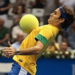 Roger Federer Dons Brazil Kit, Shows Off Some Neat-ish Football Skills On Court In Sao Paolo (Video & Photos)