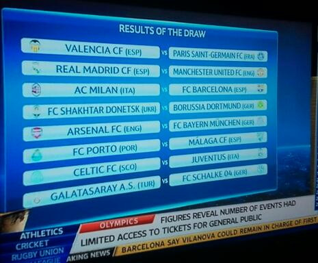 Champions League Last 16 Draw: Actual Fixtures Exactly Same As