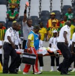 AfCoN: Ethiopia Keeper Completely Poleaxes Zambia Striker, Injures Himself, Sent Off While Being Stretchered Off (Video)