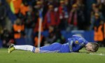 Chelsea's Fernando Torres, seconds after coming agonisingly close to connecting with a low cross.
