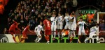 Luis Suarez smashes a freekick through the Zenit wall to open Liverpool&#039;s account on the night.