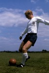 An immaculately pristine Bobby Moore turns out for an England training session, 1965.