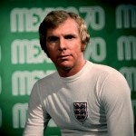 England&#039;s Bobby Moore poses at the captain&#039;s photocall ahead of the 1970 World Cup in Mexico. Note the swanky &#039;Airtex&#039; shirt.