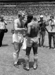 Bobby Moore shakes Pele's hand after his imperious display in England's 1-0 defeat against Brazil at Mexico '70.