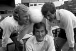 Fulham's new signing Flemming Hanssen (centre) poses with teammates Bobby Moore and Alan Mullery, 1974