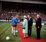England captain Bobby Moore shakes hands with the Queen before England&#039;s first match against Uruguay at the 1966 World Cup.