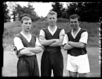 Fresh-faced West Ham youngsters Andrew Smillie, Bobby Moore and Tony Scott pose at a pre-season photocall, 1958.