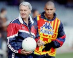 Barcelona coach runs through a few things with his protege, Ronaldo, at the Camp Nou in 1997. Wonder what ever became of him?