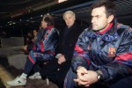 Barcelona coach Bobby Robson sits on the bench with 'The Interpreter', Jose Mourinho, 1997