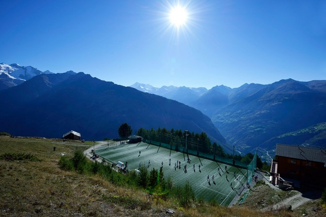 artificial grass pitch in the Alps