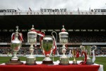 The trophies that legendary manager Brian Clough won during his time as manager of Nottingham Forest, incuding the old Division One League Championship (left) and the European Cup (3rd left) are put on show at the City Ground