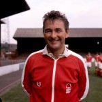 Now that's a mighty fine tracksuit! A glorious photo of Forest manager Brian Clough at the City Ground, 1976
