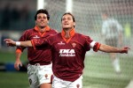 Totti celebrates after scoring the only goal of the game against Newcastle in the UEFA Cup third round, 1999