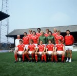 Brian Clough poses at the City Ground with Forest's 1978 squad