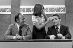 "Make-up girl Linda powders the face of Derby manager Brian Clough in preparation for his debut appearance as analyst on ITV's ""On The Ball"" as anchor man Brian Moore looks on, 1973"