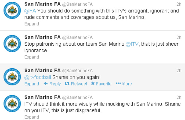 Too cute: San Marino FA complain about ITVs patronising England match coverage on Twitter