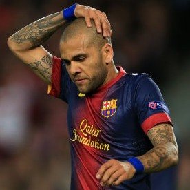 Football GIF: Dani Alves Gives Young Mascot A Mohawk During Champions League Anthem