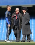 John Terry shoots the breeze with Sir Bobby Charlton and United director Michael Edelson