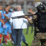 Arsenal De Sarandi Players Scuffle With Riot Police As Copa Libertadores Game Ends In Shotgun-Wielding Skirmish