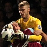 Football GIF: Low Flying Andy Carroll Absolutely Decimates David De Gea